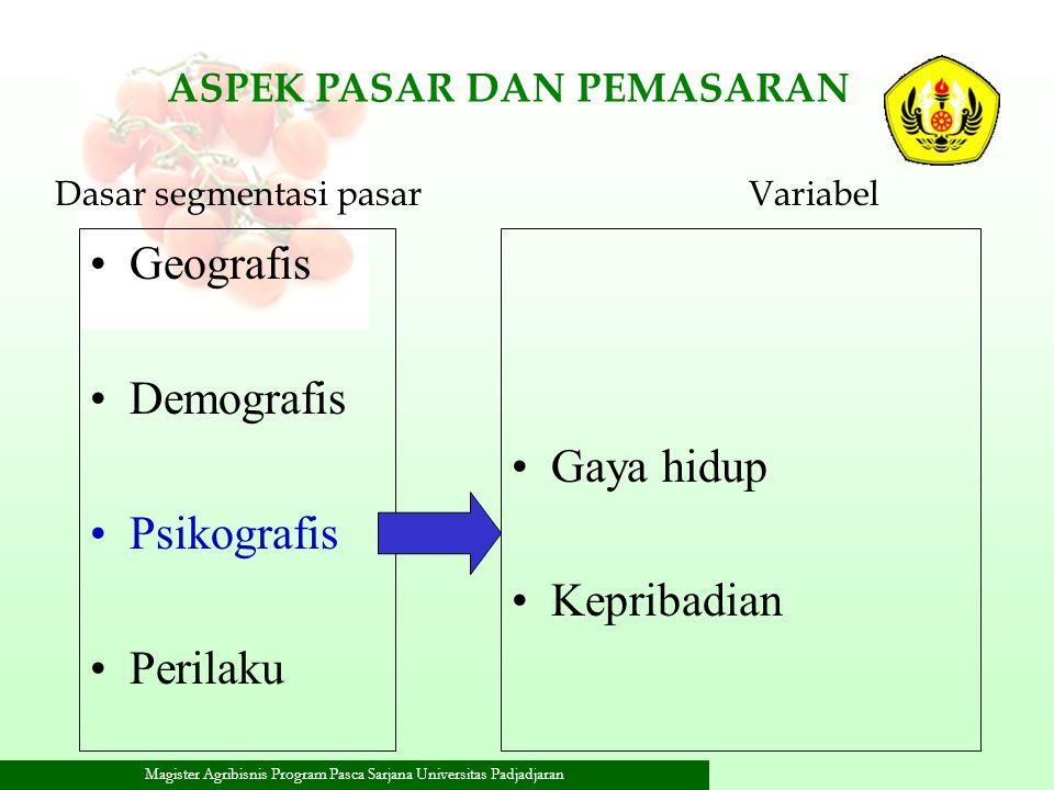 Geografis Demografis Gaya hidup Psikografis Kepribadian Perilaku