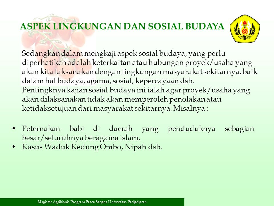 ASPEK LINGKUNGAN DAN SOSIAL BUDAYA