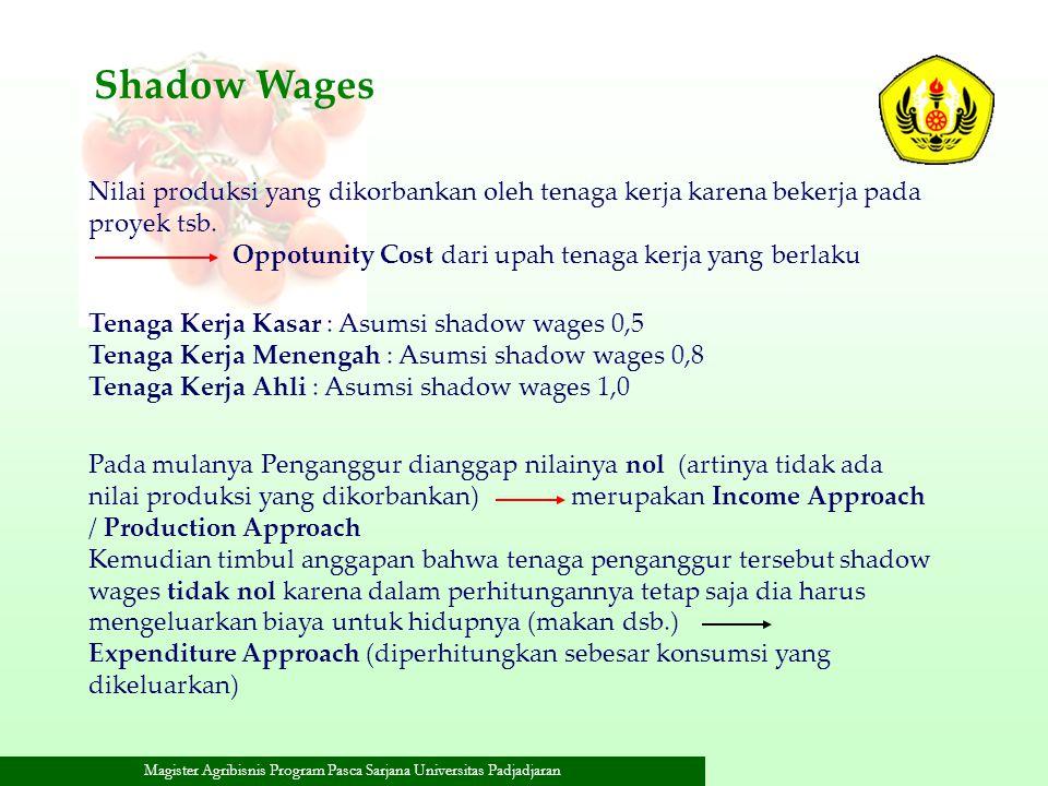 Shadow Wages Nilai produksi yang dikorbankan oleh tenaga kerja karena bekerja pada proyek tsb. Oppotunity Cost dari upah tenaga kerja yang berlaku.