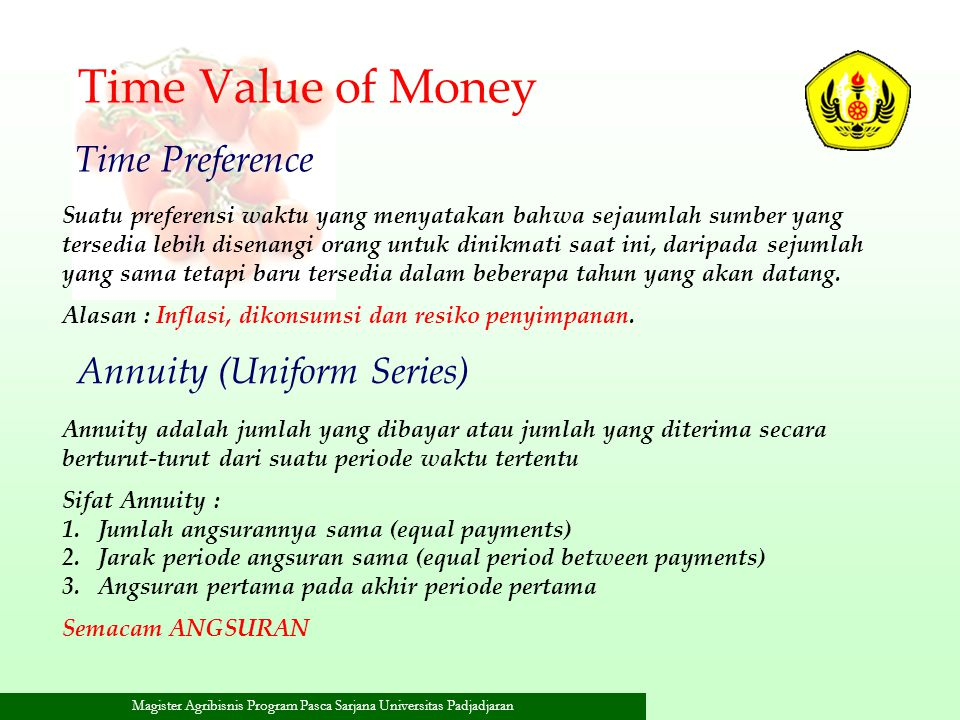 Time Value of Money Time Preference Annuity (Uniform Series)