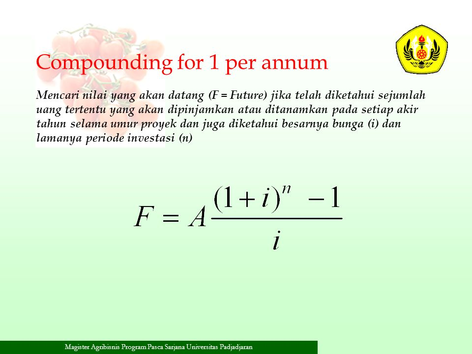 Compounding for 1 per annum