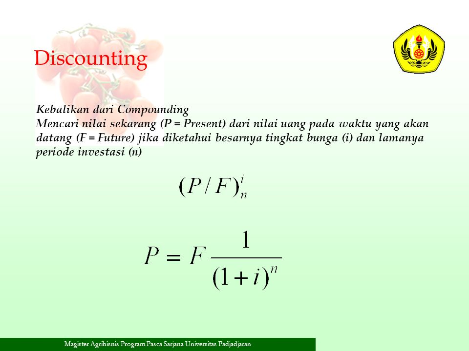 Discounting Kebalikan dari Compounding