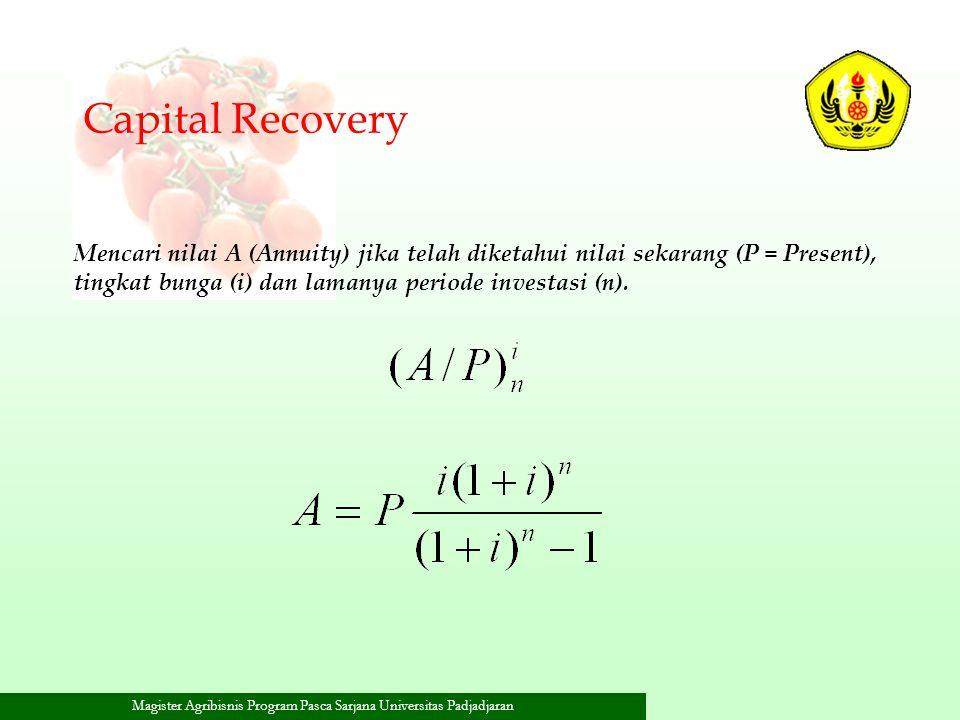 Capital Recovery Mencari nilai A (Annuity) jika telah diketahui nilai sekarang (P = Present), tingkat bunga (i) dan lamanya periode investasi (n).