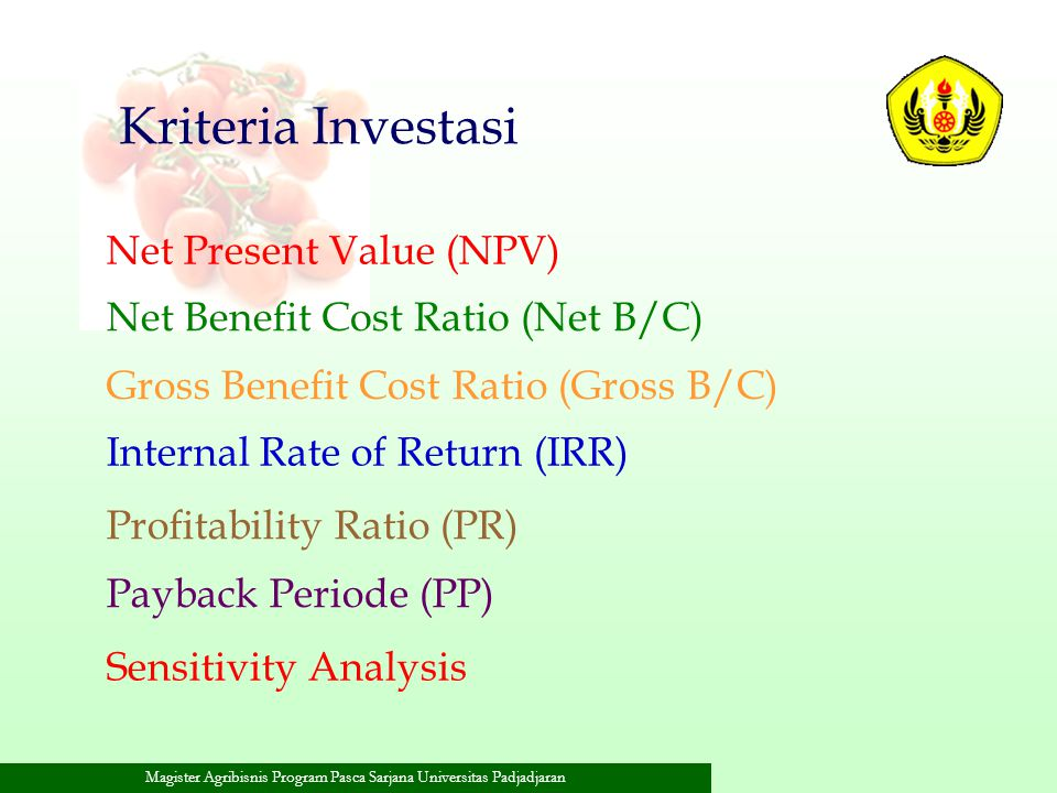Kriteria Investasi Net Present Value (NPV)