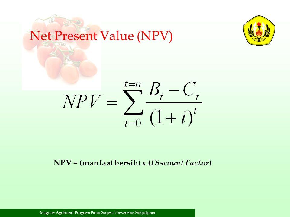 NPV = (manfaat bersih) x (Discount Factor)