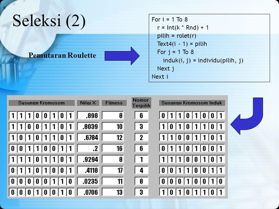 Seleksi (2) Pemutaran Roulette For i = 1 To 8 r = Int(k * Rnd) + 1