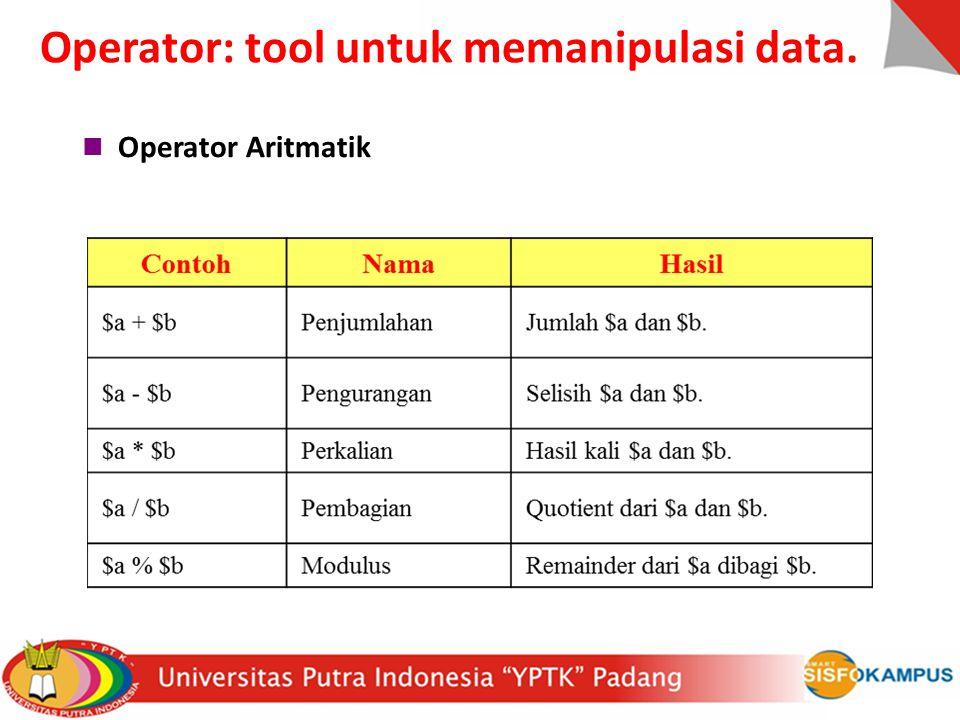 Operator: tool untuk memanipulasi data.