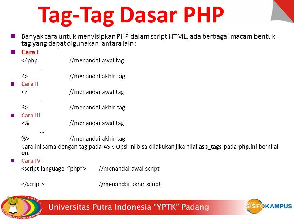 Tag-Tag Dasar PHP Banyak cara untuk menyisipkan PHP dalam script HTML, ada berbagai macam bentuk tag yang dapat digunakan, antara lain :