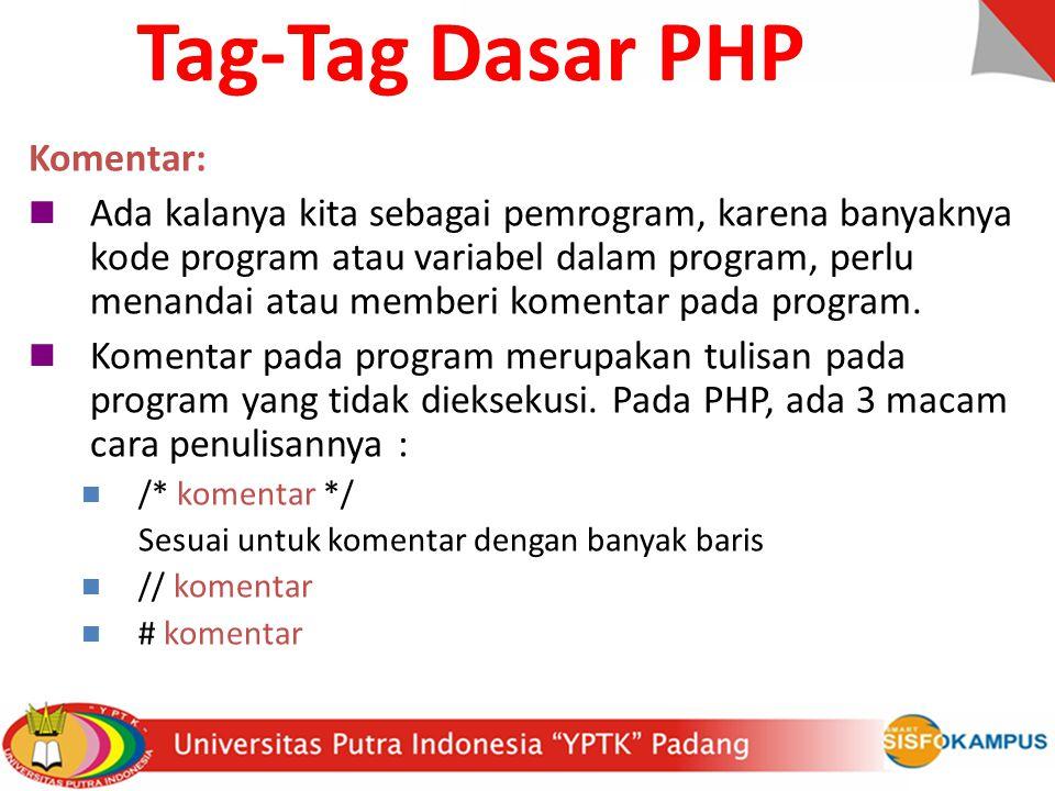 Tag-Tag Dasar PHP Komentar: