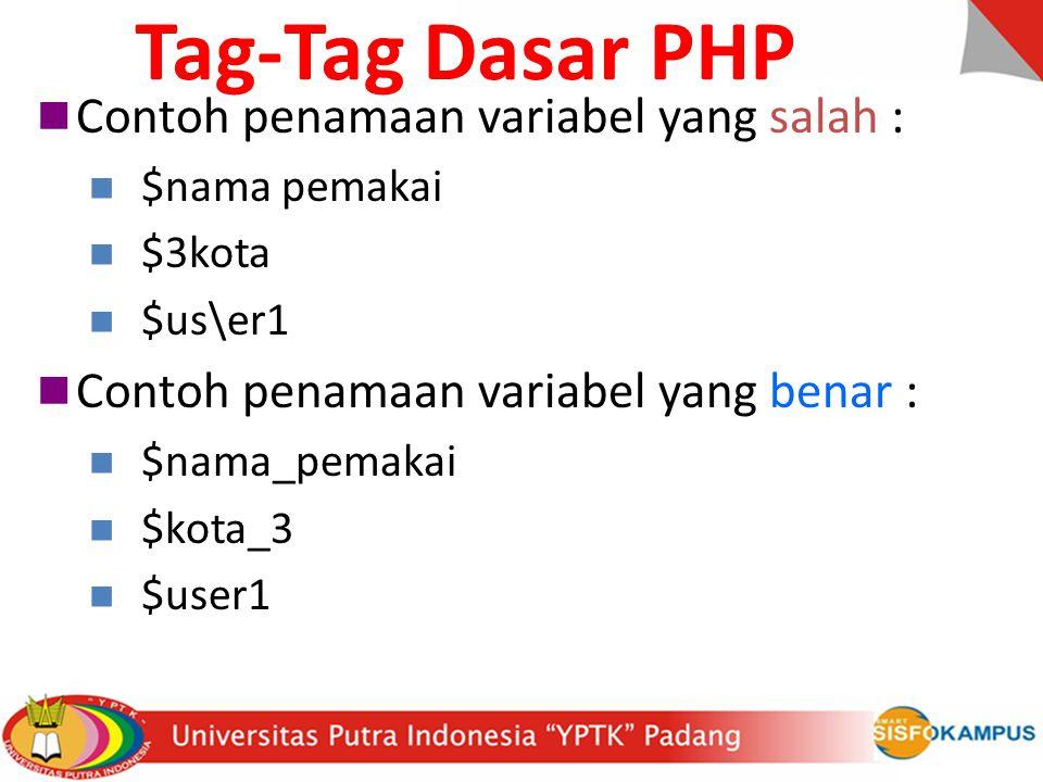 Tag-Tag Dasar PHP Contoh penamaan variabel yang salah :