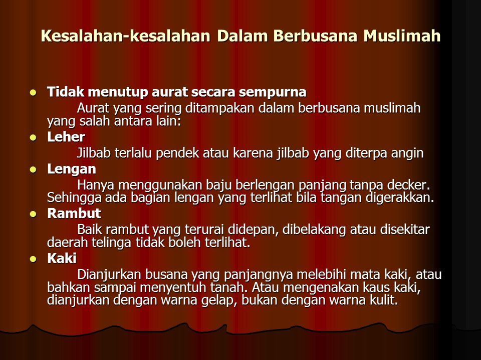 Kesalahan-kesalahan Dalam Berbusana Muslimah