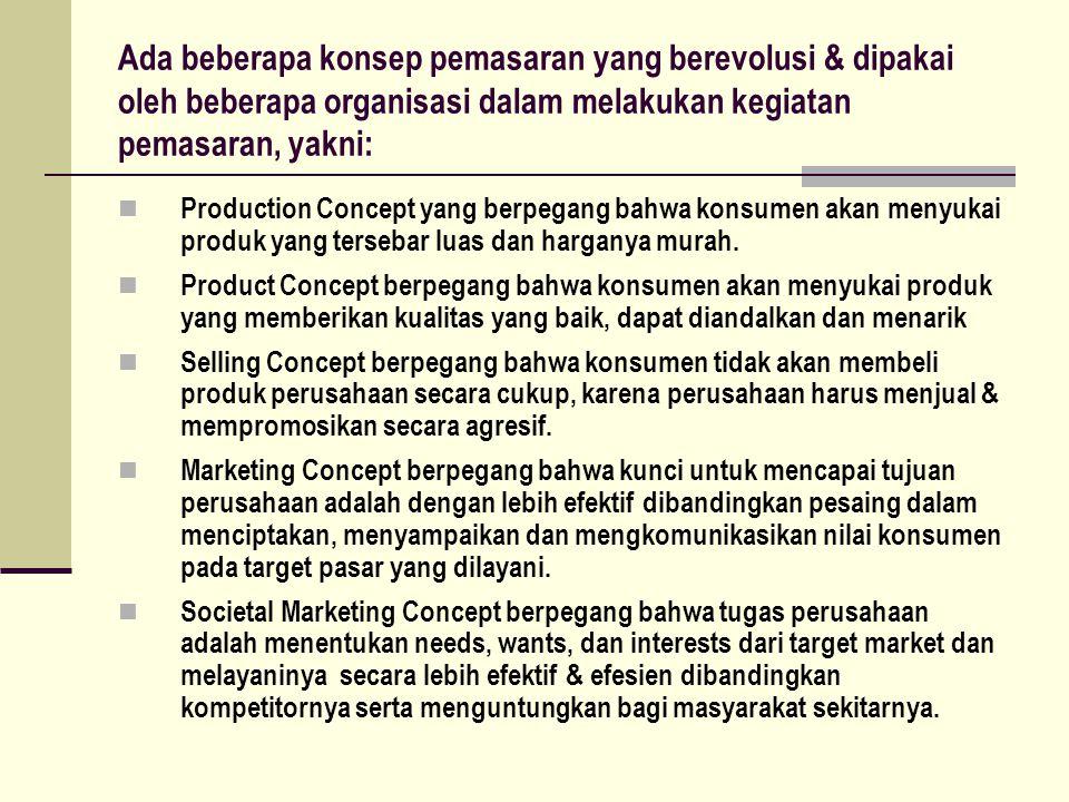 Ada beberapa konsep pemasaran yang berevolusi & dipakai oleh beberapa organisasi dalam melakukan kegiatan pemasaran, yakni: