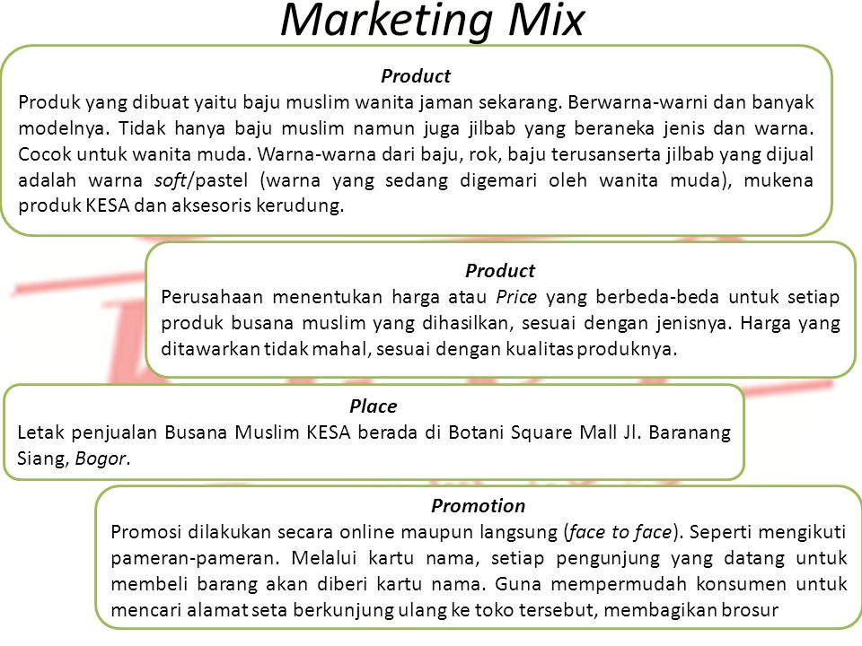 Identifikasi Produk Marketing Mix Product