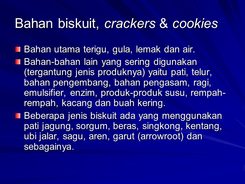 Bahan biskuit, crackers & cookies