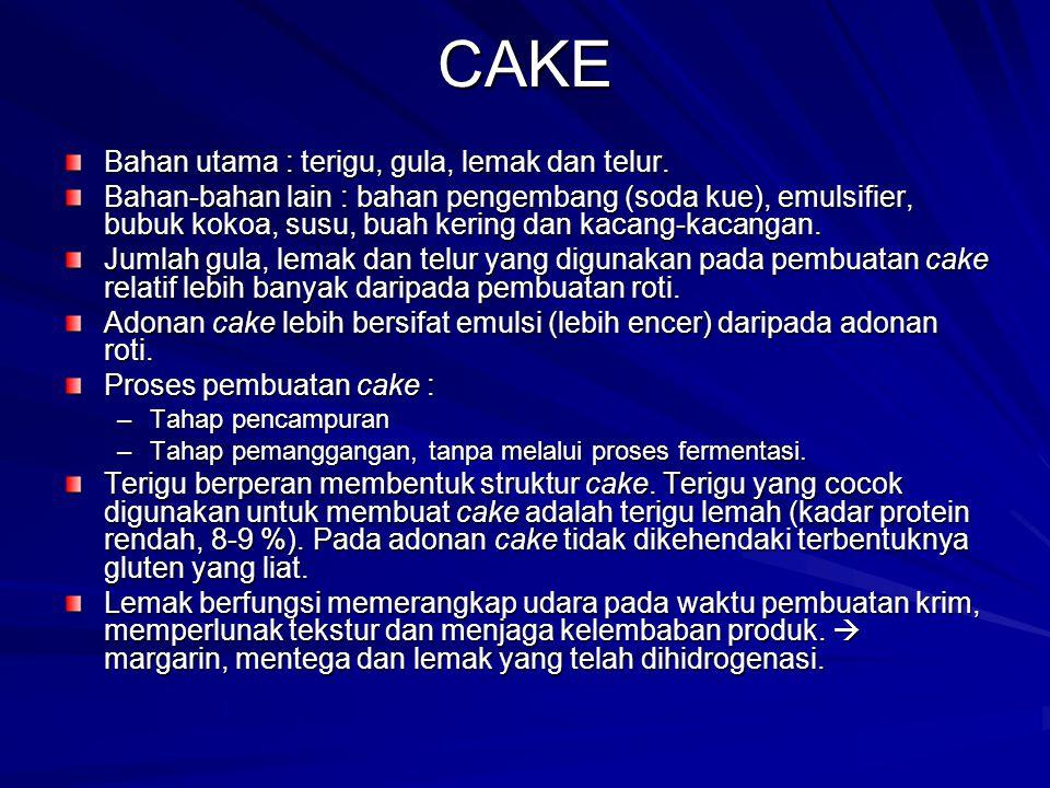 CAKE Bahan utama : terigu, gula, lemak dan telur.