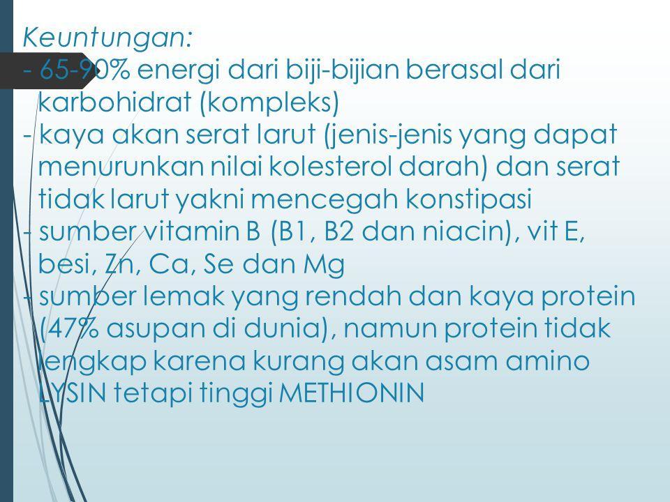 Keuntungan: - 65-90% energi dari biji-bijian berasal dari karbohidrat (kompleks) - kaya akan serat larut (jenis-jenis yang dapat menurunkan nilai kolesterol darah) dan serat tidak larut yakni mencegah konstipasi - sumber vitamin B (B1, B2 dan niacin), vit E, besi, Zn, Ca, Se dan Mg - sumber lemak yang rendah dan kaya protein (47% asupan di dunia), namun protein tidak lengkap karena kurang akan asam amino LYSIN tetapi tinggi METHIONIN