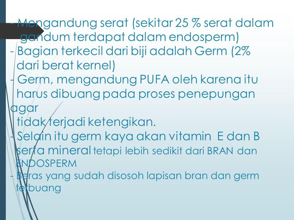 - Mengandung serat (sekitar 25 % serat dalam gandum terdapat dalam endosperm) - Bagian terkecil dari biji adalah Germ (2% dari berat kernel) - Germ, mengandung PUFA oleh karena itu harus dibuang pada proses penepungan agar tidak terjadi ketengikan.
