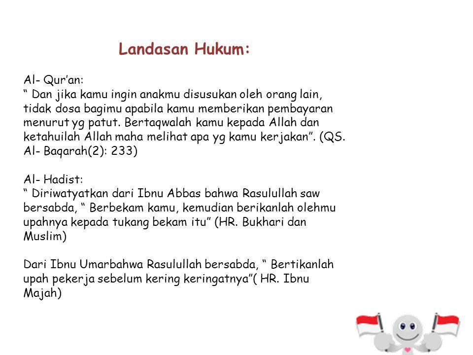 Landasan Hukum: Al- Qur'an: