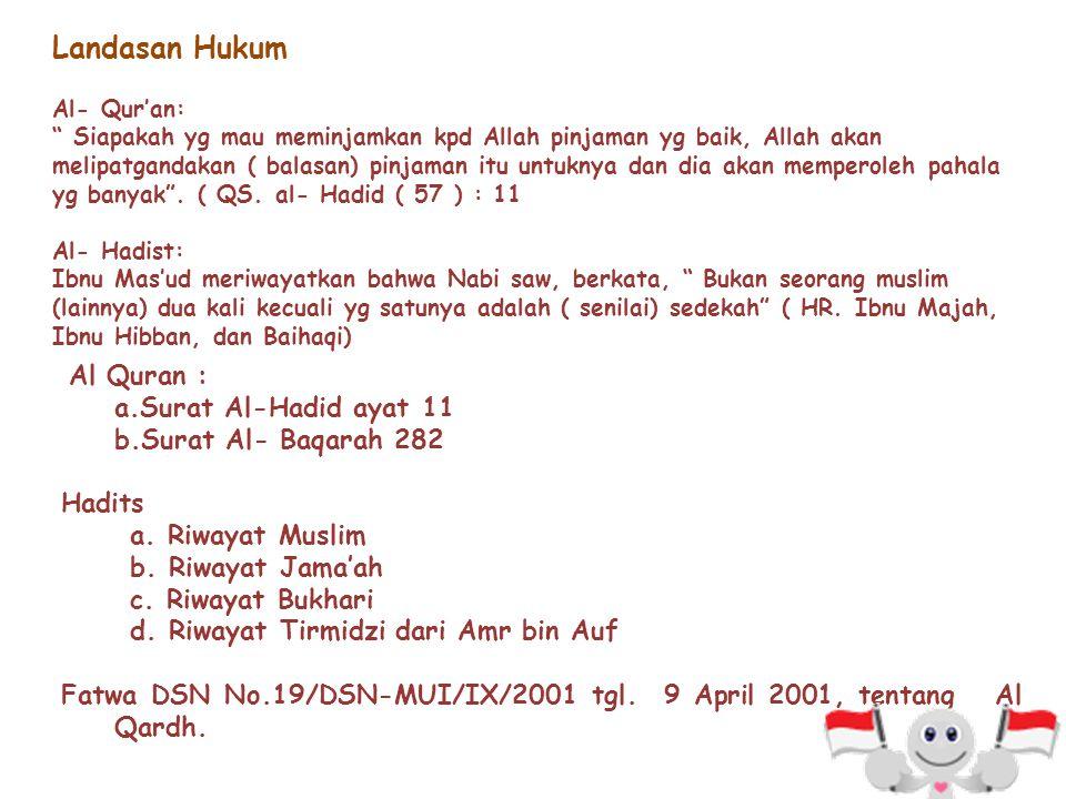 Landasan Hukum Al Quran : a.Surat Al-Hadid ayat 11