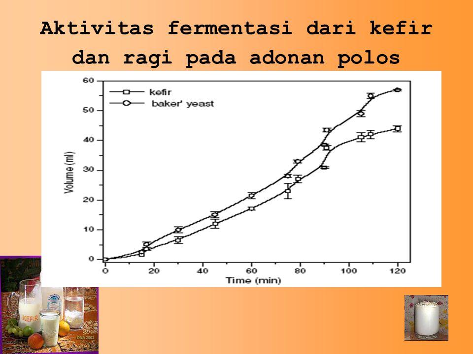 Aktivitas fermentasi dari kefir dan ragi pada adonan polos