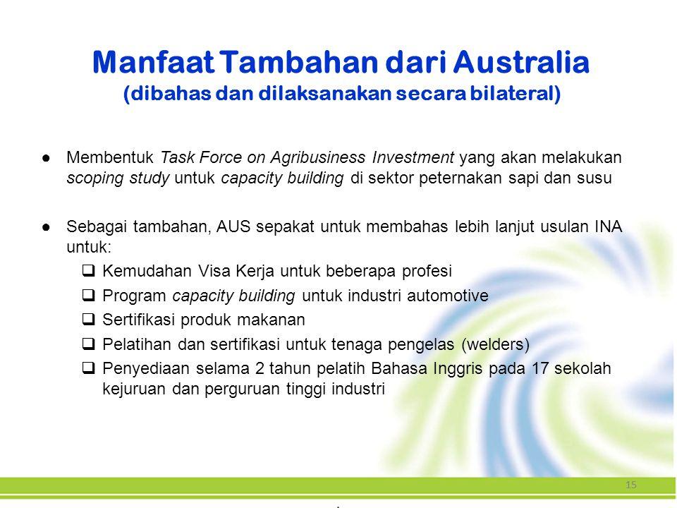 Manfaat Tambahan dari Australia (dibahas dan dilaksanakan secara bilateral)