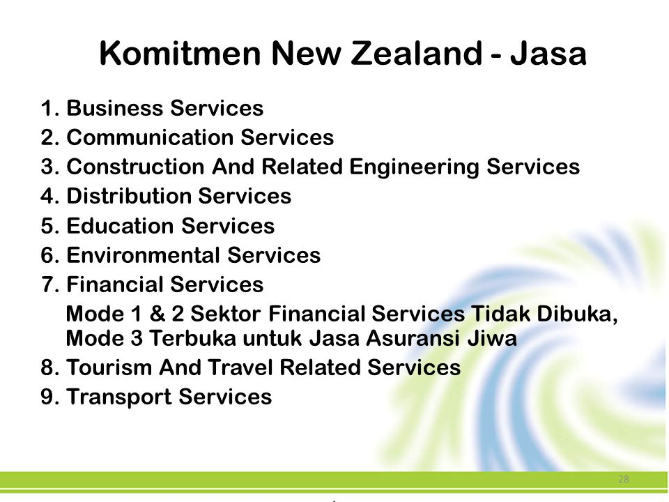 Komitmen New Zealand - Jasa