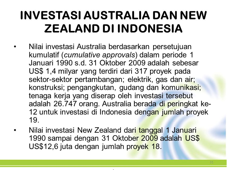 INVESTASI AUSTRALIA DAN NEW ZEALAND DI INDONESIA