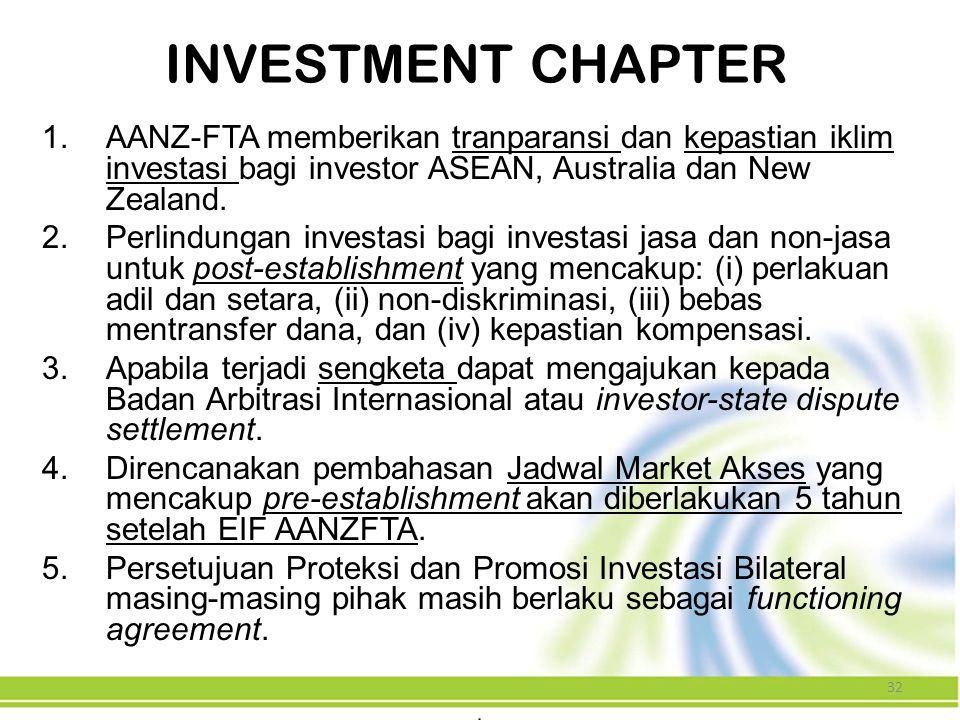 INVESTMENT CHAPTER AANZ-FTA memberikan tranparansi dan kepastian iklim investasi bagi investor ASEAN, Australia dan New Zealand.