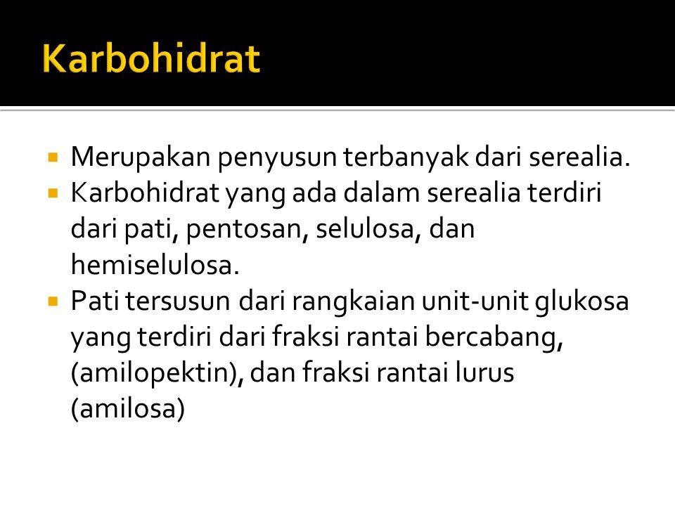 Karbohidrat Merupakan penyusun terbanyak dari serealia.