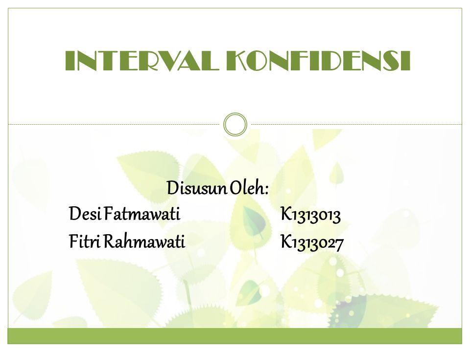 INTERVAL KONFIDENSI Disusun Oleh: Desi Fatmawati K1313013
