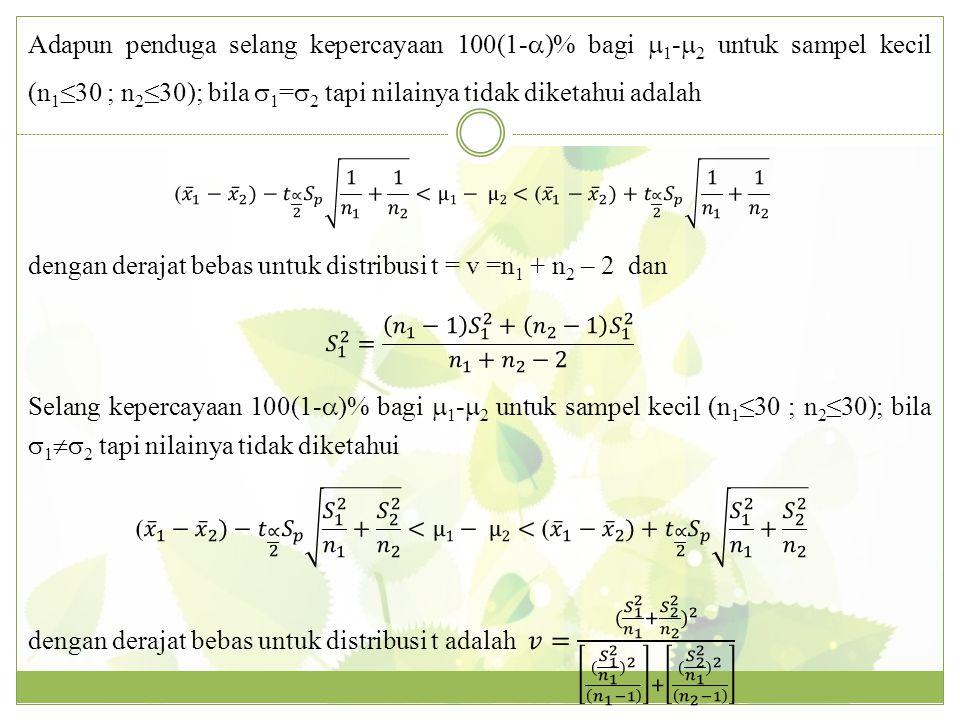 dengan derajat bebas untuk distribusi t = v =n1 + n2 – 2 dan