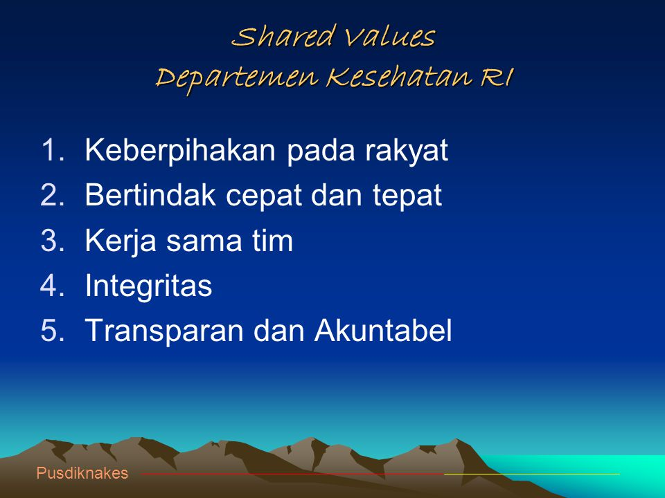Shared Values Departemen Kesehatan RI