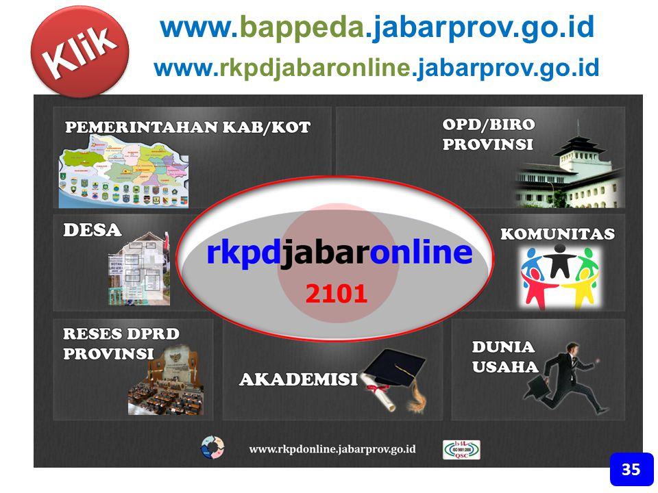 Klik www.bappeda.jabarprov.go.id www.rkpdjabaronline.jabarprov.go.id