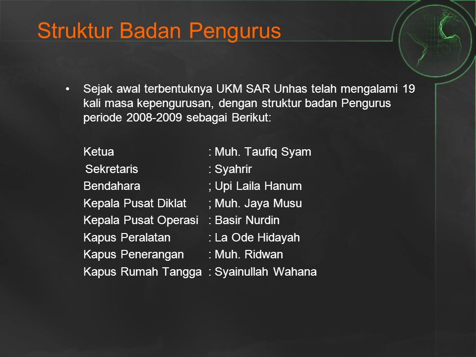 Struktur Badan Pengurus