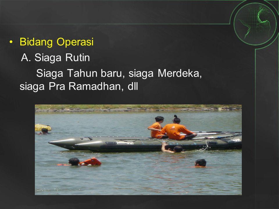 Bidang Operasi A. Siaga Rutin Siaga Tahun baru, siaga Merdeka, siaga Pra Ramadhan, dll