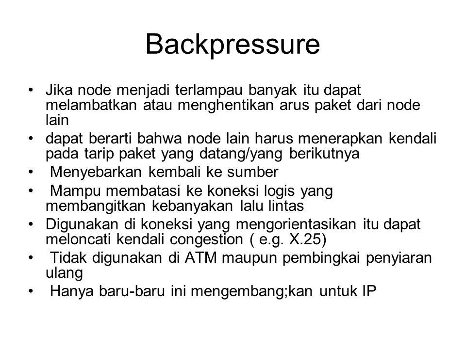 Backpressure Jika node menjadi terlampau banyak itu dapat melambatkan atau menghentikan arus paket dari node lain.