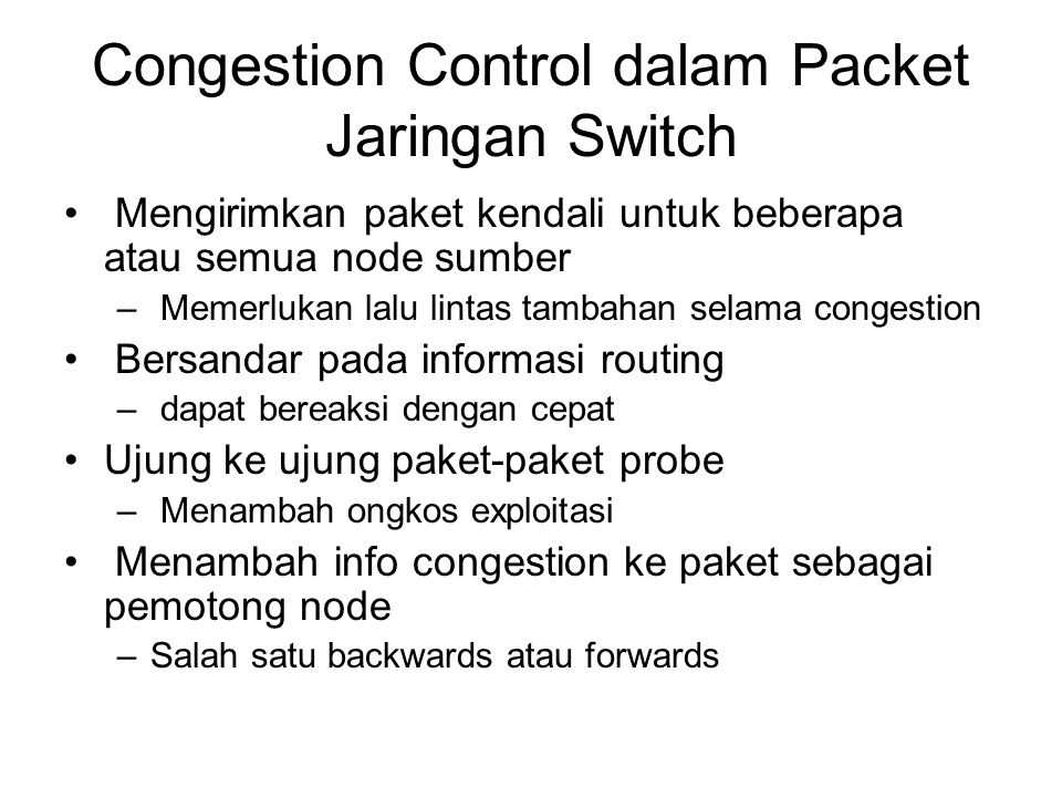 Congestion Control dalam Packet Jaringan Switch