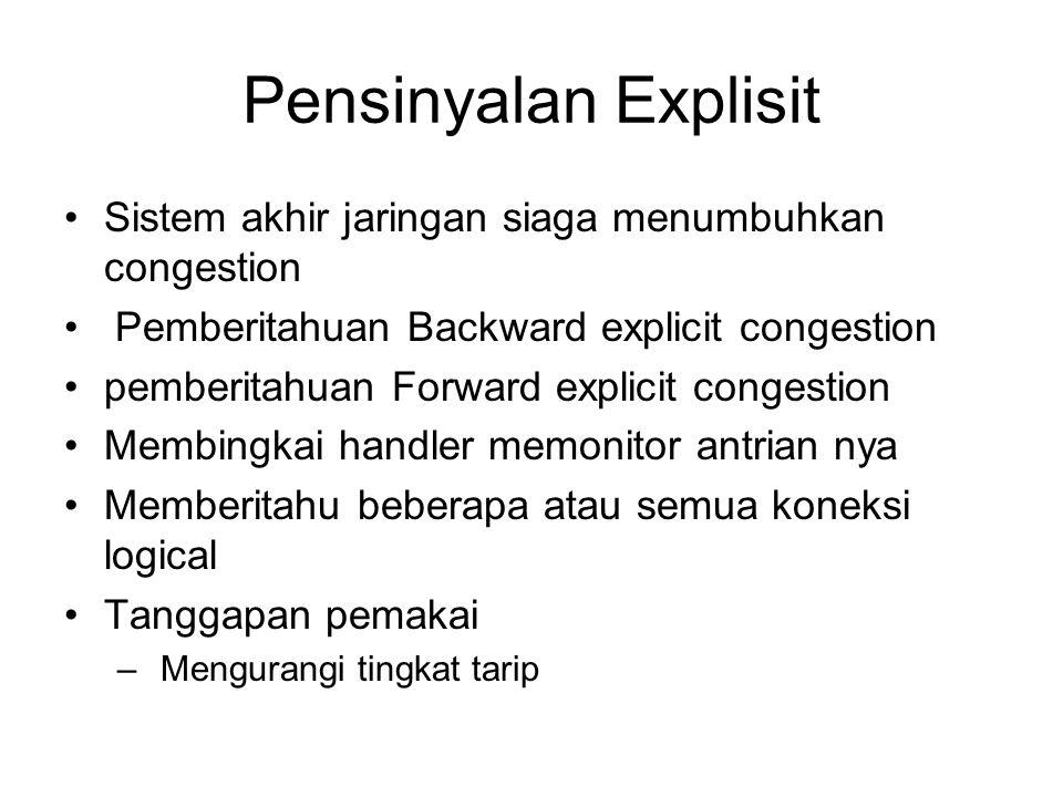 Pensinyalan Explisit Sistem akhir jaringan siaga menumbuhkan congestion. Pemberitahuan Backward explicit congestion.