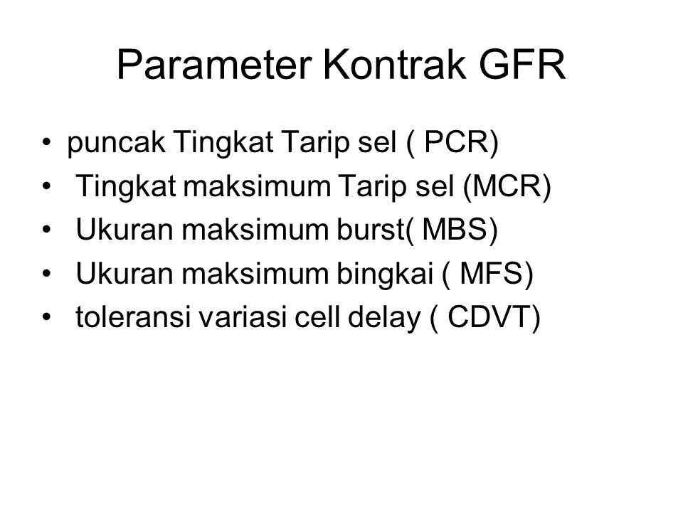 Parameter Kontrak GFR puncak Tingkat Tarip sel ( PCR)