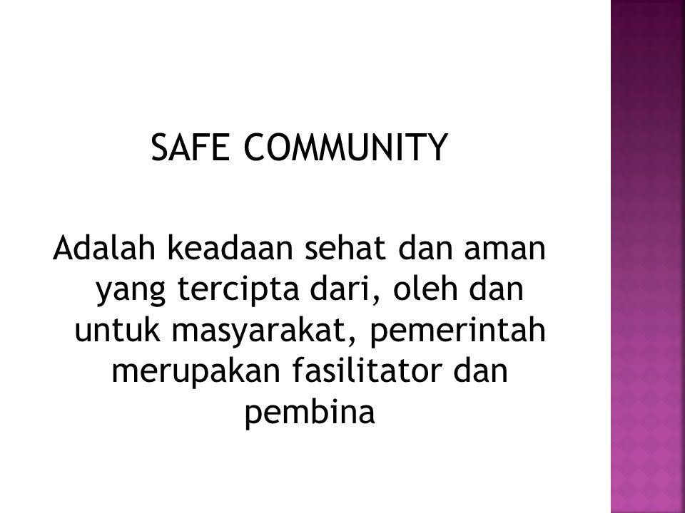 SAFE COMMUNITY Adalah keadaan sehat dan aman yang tercipta dari, oleh dan untuk masyarakat, pemerintah merupakan fasilitator dan pembina.