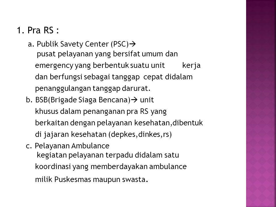 a. Publik Savety Center (PSC) pusat pelayanan yang bersifat umum dan