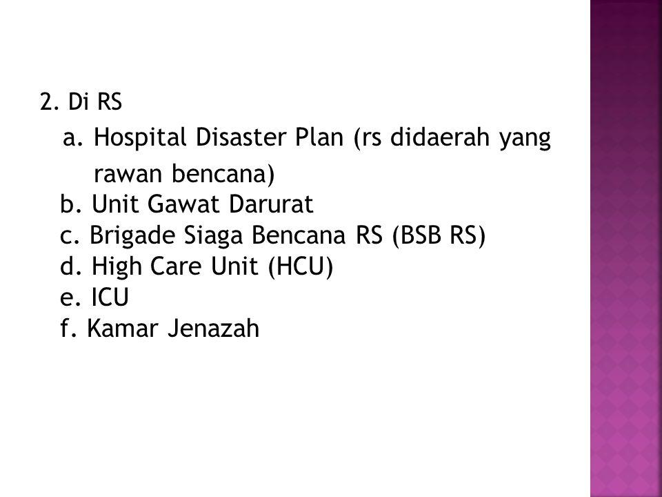 a. Hospital Disaster Plan (rs didaerah yang