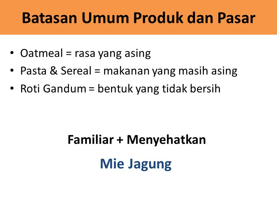 Batasan Umum Produk dan Pasar
