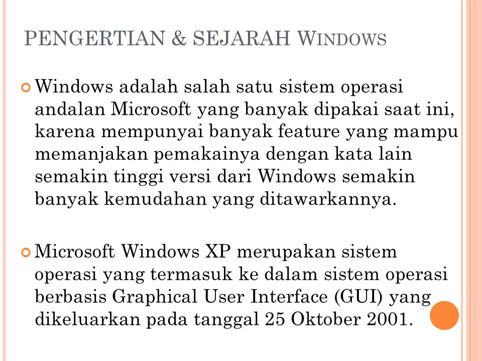 PENGERTIAN & SEJARAH Windows