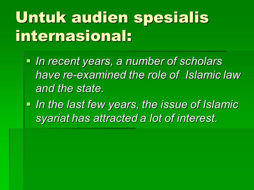 Untuk audien spesialis internasional: