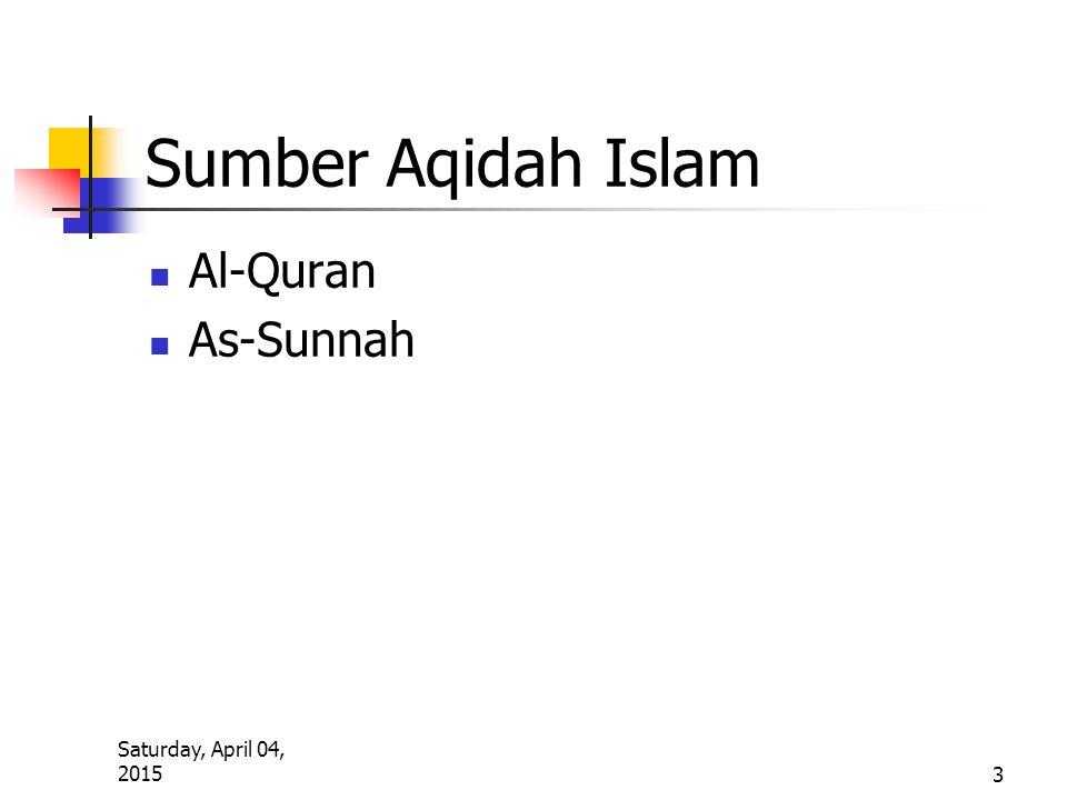 Sumber Aqidah Islam Al-Quran As-Sunnah