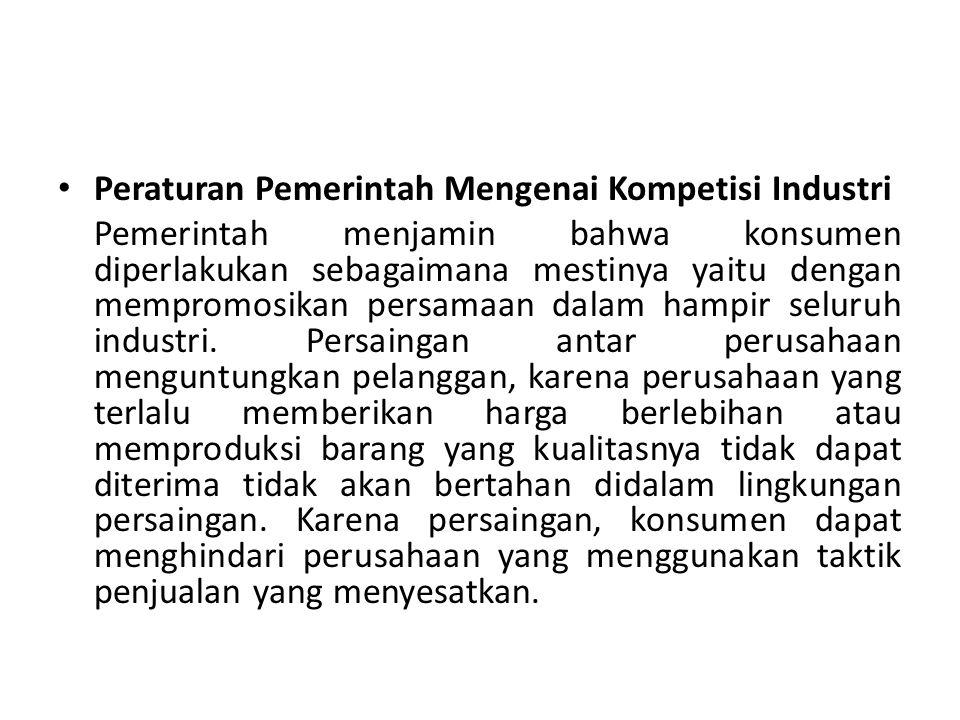 Peraturan Pemerintah Mengenai Kompetisi Industri