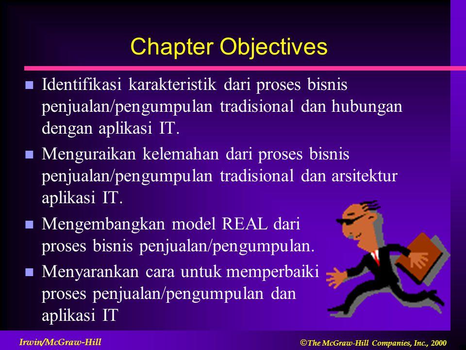 Chapter Objectives Identifikasi karakteristik dari proses bisnis penjualan/pengumpulan tradisional dan hubungan dengan aplikasi IT.