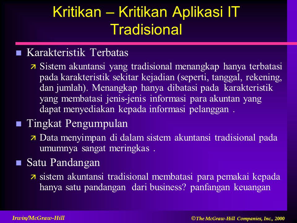 Kritikan – Kritikan Aplikasi IT Tradisional