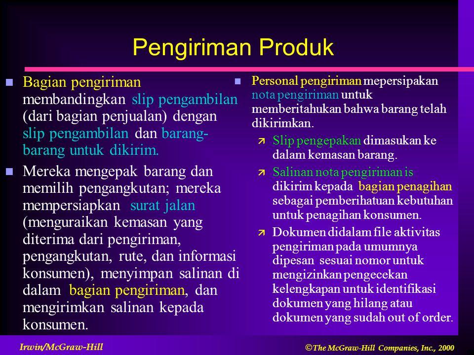 Pengiriman Produk Bagian pengiriman membandingkan slip pengambilan (dari bagian penjualan) dengan slip pengambilan dan barang-barang untuk dikirim.